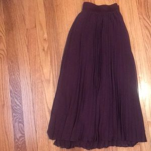 Lane Bryant Burgundy Accordian Skirt